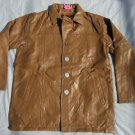 Men's tan leather long sleeve jacket Vintage style Quater Length leather Coat L