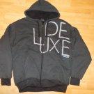 Black gray stripe zip up hoodie sweater Stripe Zip Up Hoodie Hoody Jacket L