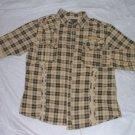 Tan Gray long sleeve shirt  KAALU roll up long short sleeve button up shirt L