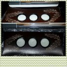 6 asst style Mini Brown Wood Candle Set in Wooden Hand crafted Candle Holder #3