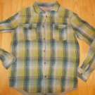 Kids green gray Long sleeve plaid shirt Plaid Flannel Shirt Heavy Weight S