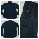 Navy Blue long sleeve button up dress casual shirt Vintage style dress shirt XL