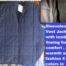 Navy Blue sleeveless down vest Sleeveless outdoor Vest Casual style Vest S-3X