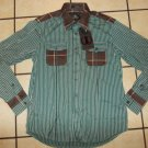 CASTLEBURY brown white aqua long sleeve button up Stripe long sleeve shirt  L