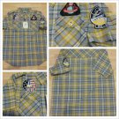 Raw Blue Military style button up shirt Yellow White Gray stripe plaid shirt M-2
