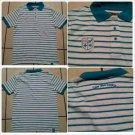 Live Mechanics polo shirt White Aqua stripe short sleeve polo shirt Mens polo M