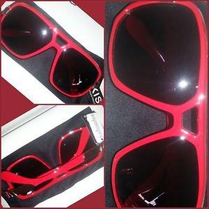 Mens Womens Unisex  80's Gazelle style glasses RED square LENS SUN GLASSES #2