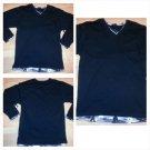 Black Gray Camouflage long sleeve V neck T shirt Camouflage V-neck T-shirt L