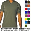 KHAKI SHORT SLEEVE V NECK T SHIRT by PRO CLUB COMFORT V NECK T SHIRT S-5X