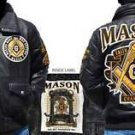 Masonic Leather Jacket Freemason Masonic Mason Black Gold Leather Coat M-4X