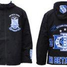 PHI BETA SIGMA FRATERNITY BLACK BLUE WINDBREAKER JACKET COAT ZIP JACKET  M-5X
