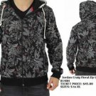 Men's black floral print Zip Up Hoodie Jacket Fashion Casual Hoody Jacket S-2X