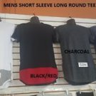 RED BLACK SLEEVE ROUND T-SHIRT EXTENDED CURVED HEM CASUAL w Zipper S-2X