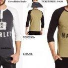 Mens long sleeve henley t-shirt Crown holder Marley Henley Olive T-shirt S-3X