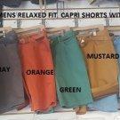 Fashion Capri style shorts Orange Twill relaxed fit casual walking short 30W-38W