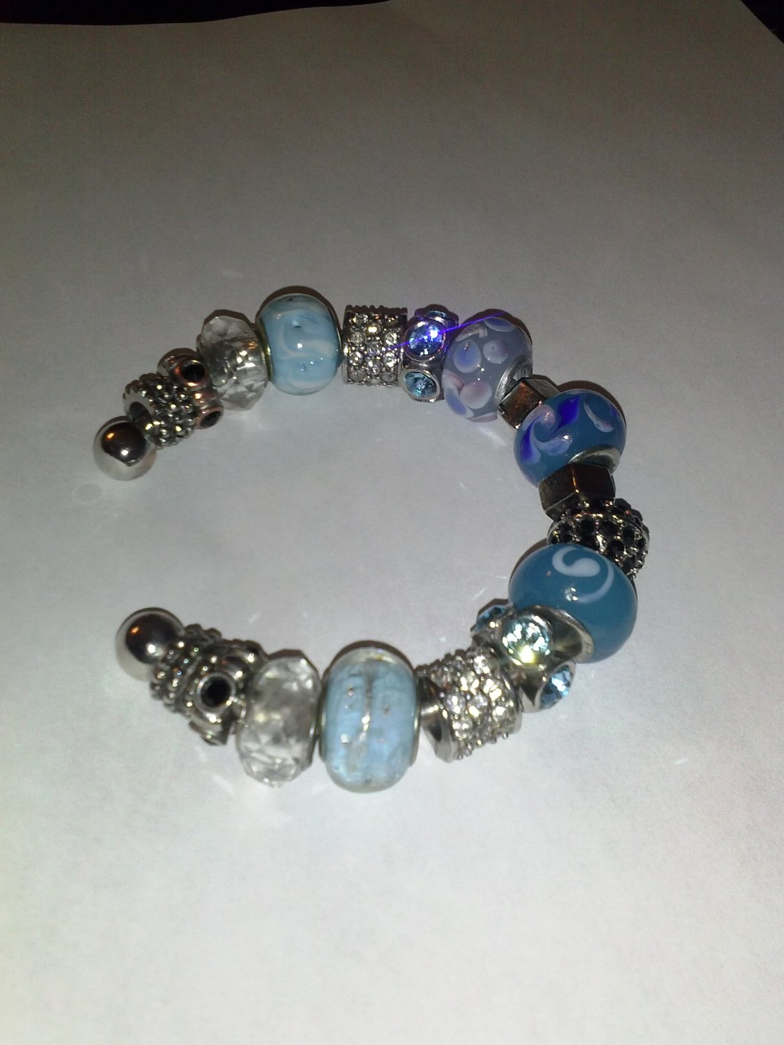 Multi-Blue Glass Bead Bracelet