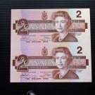 Canada Banknote - BC-55c-i - $2.00 - 1986 Uncut pair from full sheet BBU prefix