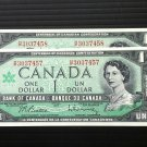 Canada Banknote - BC-45b-i - $1.00 - Centennial Issue 2 in sequence