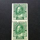 Canada Stamp - 131 - Coil Pair Perf 12  - 1 cent Admiral Fine mint Hinged