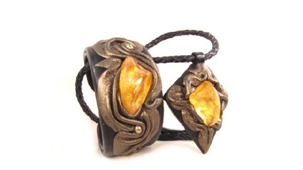 Exclusive Jewelry Set - Leather - Baltic Amber FREE DELIVERY