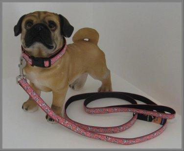 Bark Ave. Pink Zinnias Dog Collar & Leash