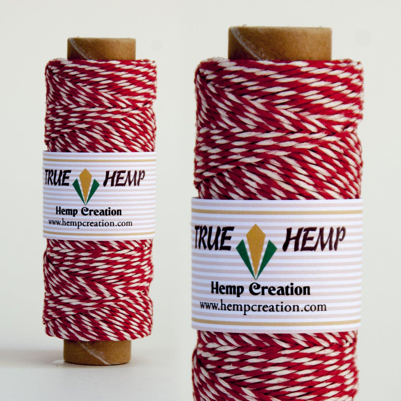 True Hemp cord PAIR TWINE RED/WHITE - 1mm diameter 20lb - 205feet / 62m / 50gram per spool