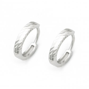 "925 Sterling Silver Polish Finishing Diamond-Cut Huggie Hoop Earrings (0.6"") A10239E"