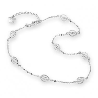 """U.S. ONLY - Platinum Plated 925 Silver Hollow Lantern Drop Station Necklace (16"""") B04829N"""