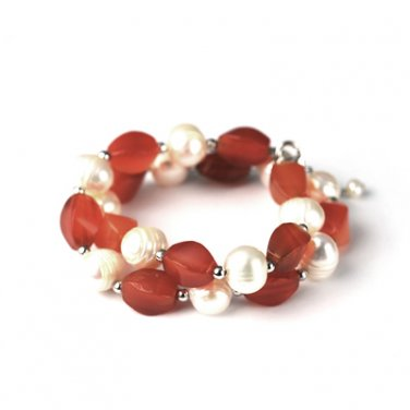 "925 Sterling Silver Carnelian and Baroque Pearl Bracelet (6.5"") Valentine Jewelry Gift Wife B05246B"