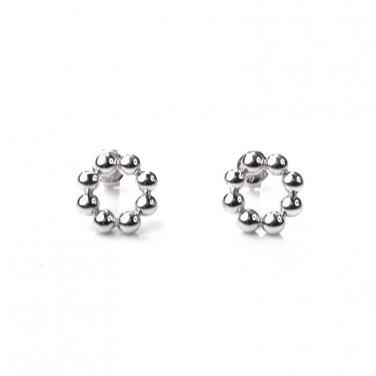 U.S. ONLY - Platinum Plated 925 Sterling Silver Bead Stud Earrings (Diameter 1cm) B05674E