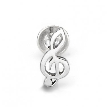 925 Sterling Silver Polished Finish G Clef Music Note Single Stud Earring C05134L