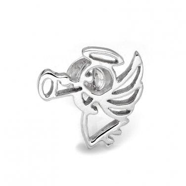 925 Sterling Silver Polished Finish Angel Single Stud Earring C05141L