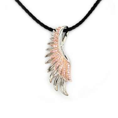 925 Sterling Silver Pink CZ Phoenix Angel Wing Couple Necklace Lady Gift Q20924N