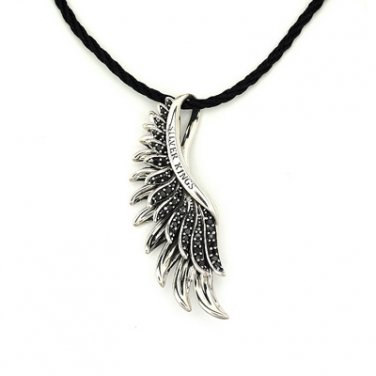 925 Sterling Silver Black CZ Phoenix Angel Wing Couple Necklace Men Gift Q20925N