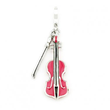 I-Silver 925 Sterling Silver Enameled Pink Violin Music Charm Gift For Girl, Teens C05034J