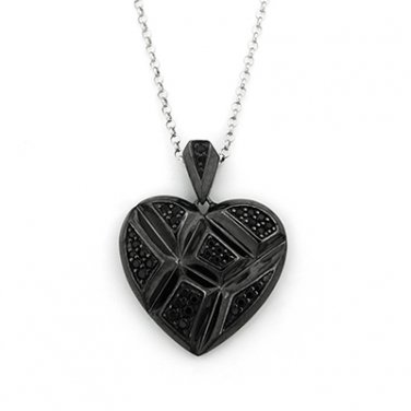 SilverKings 925 Sterling Silver Black CZ Gothic Heart Valentines Necklace (22') Q22994N