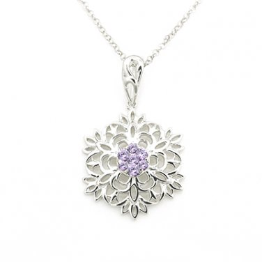 "Silver Kings 925 Sterling Silver Purple CZ Stone Snow Flake Pendant (22"") Q22557N"