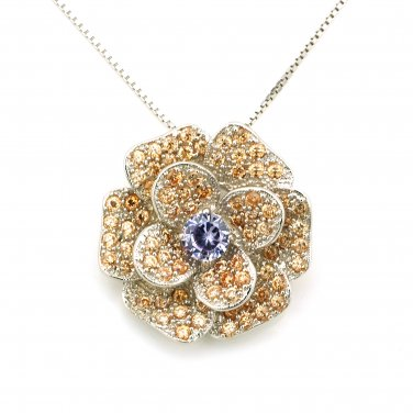 """925 Sterling Silver Yellow Topaz Color Purple CZ Vintage Style Rose Necklace 16"""" Valentine C05805N"""