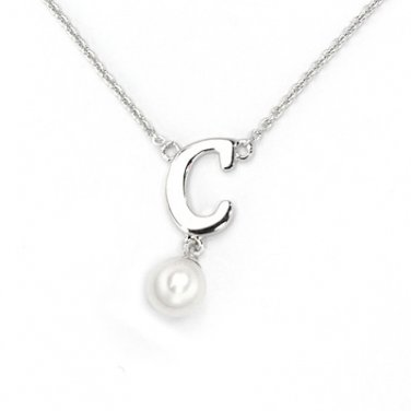 "925 Sterling Silver Initial Letter C Round Fresh Water 5mm White Pearl Necklace Girl, 16"" S06946N"