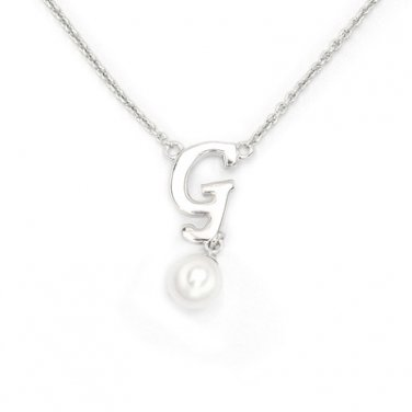 "925 Sterling Silver Initial Letter G Round Fresh Water 5mm White Pearl Necklace Girl, 16"" S06946N"