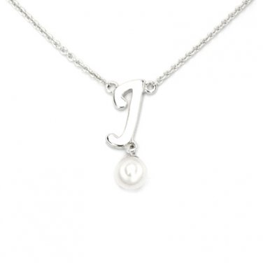 "925 Sterling Silver Initial Letter J Round Fresh Water 5mm White Pearl Necklace Girl, 16"" S06946N"