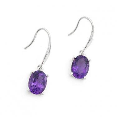 18K White Gold Purple Oval Shaped Amethyst Drop Hook Earrings Valentine Gift F06183E