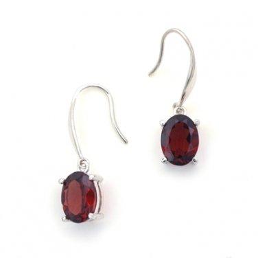 18K White Gold Oval Shaped Garnet Drop Hook Earrings Birthday Valentine Gift Q21613E