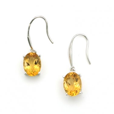 18K White Gold Oval Shaped Citrine Drop Hook Earrings Birthday Valentine Gift Q21614E