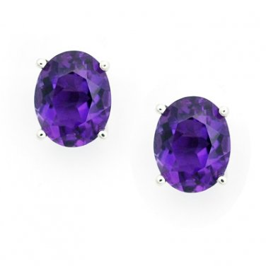 18K White Gold 4 Prong Setting Oval Shaped Amethyst Stud Earrings Birthday Valentine Gift Q21031E