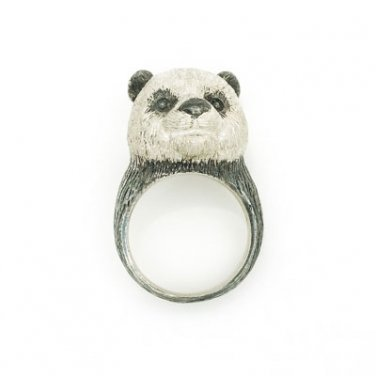 3D Panda 925 Sterling Silver Ring Animal Statement Funky Birthday Valentine Gift Q22507R