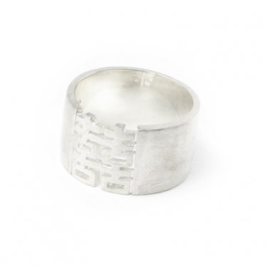 925 Silver Chinese Character Double Happiness Promise Band Ring Wedding Bridal Gift Q10536R