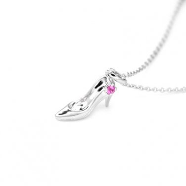 925 Sterling Silver High Heel Pink Sapphire Necklace (16'') Valentines Women Jewelry C06035N
