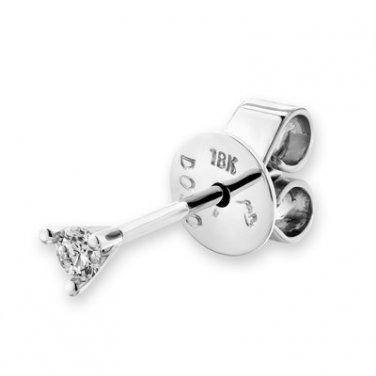18K White Gold Martini Three Prong Setting Round Diamond Single Stud Earring (0.04 cttw) D00711L