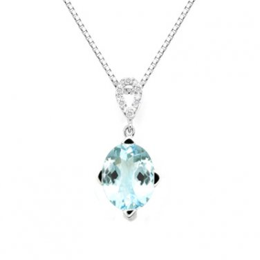 "18K White Gold Oval Shaped Aquamarine Drop Pendant Necklace 16"" 925 Silver Chain L01732P"